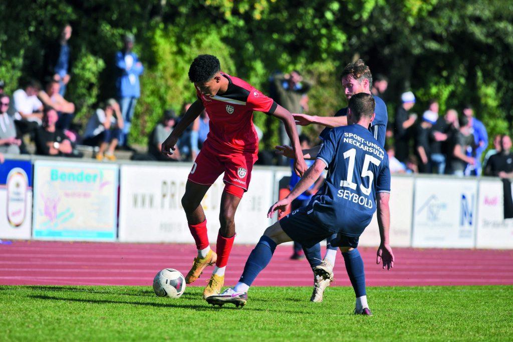 Noah Ganaus erzielte gegen die Sport-Union Neckarsulm zwei Tore